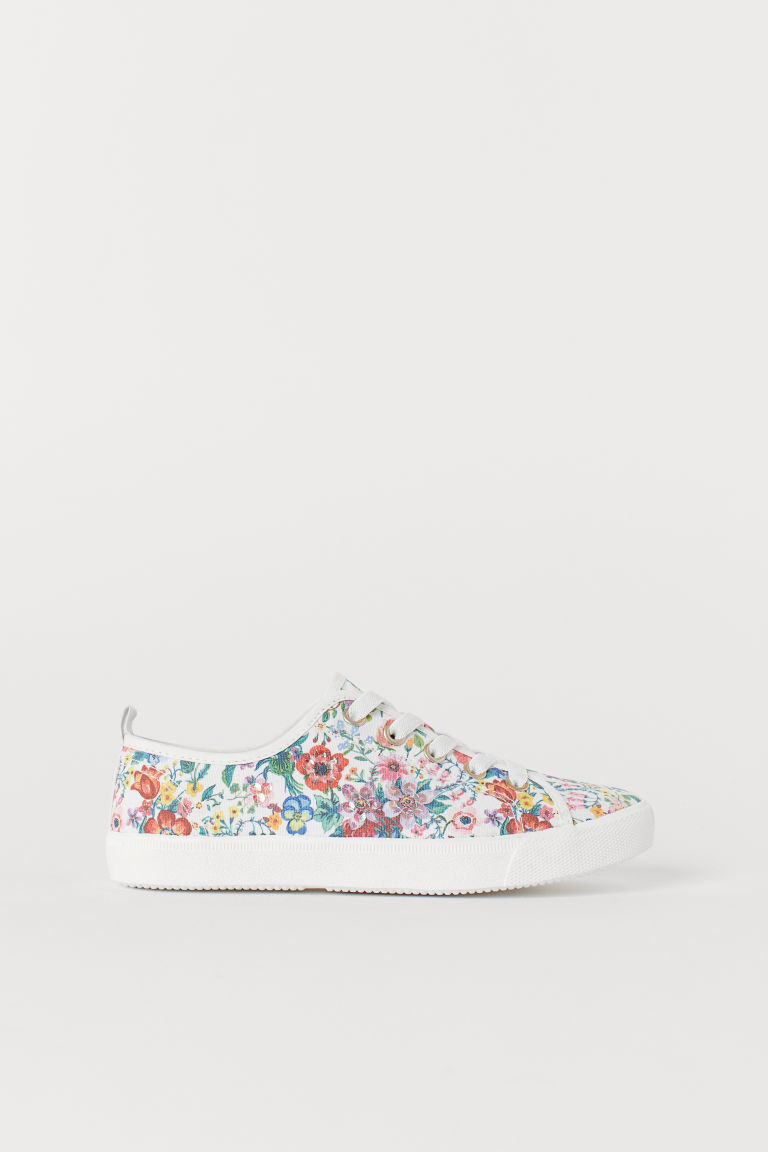 Trainers with sequins - White/Floral - Kids | H&M