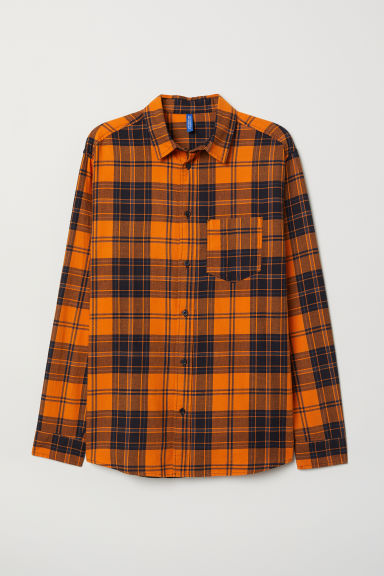 Checked cotton flannel shirt - Orange/Checked - Men | H&M