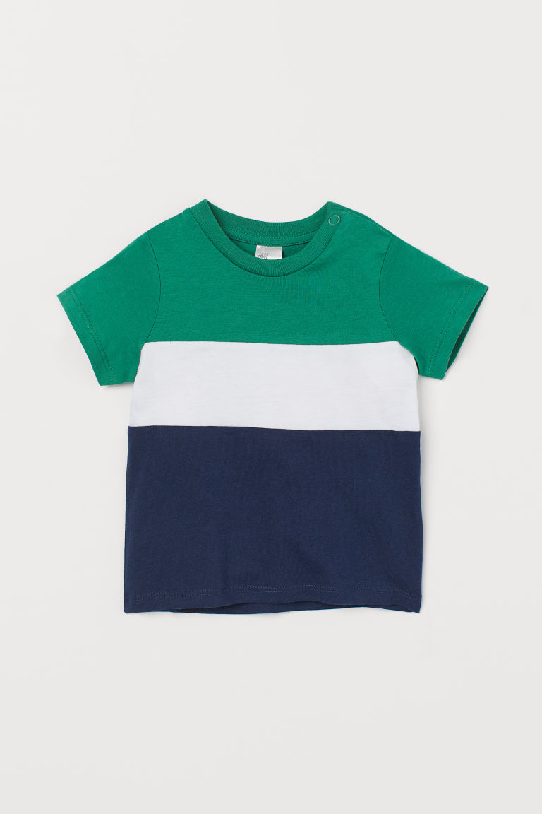 T-shirt - Green/Block-coloured - Kids | H&M IN