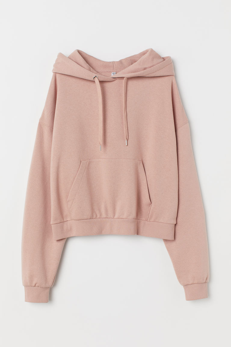 Sweat à capuche court - Rose clair chiné -  | H&M FR