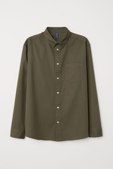 Camicia in cotone - Verde kaki scuro - UOMO | H&M IT