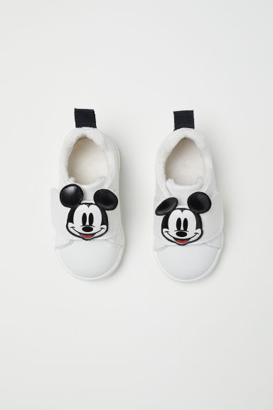 Appliquéd trainers - White/Mickey Mouse - Kids | H&M