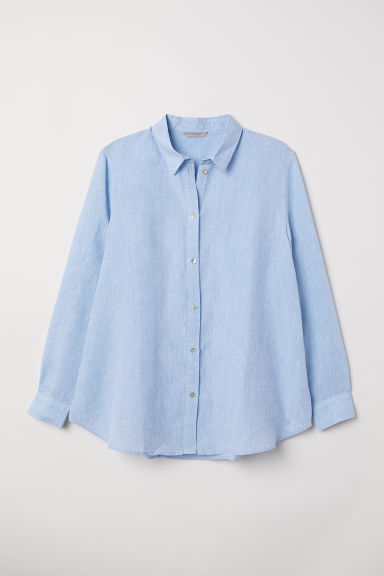 H&M+ Linen-blend shirt - Light blue - Ladies | H&M CN
