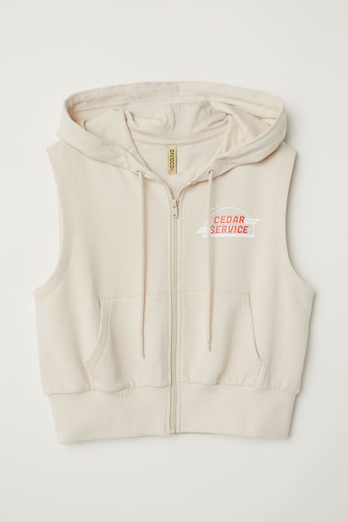 Sleeveless hooded jacket - Light beige - Ladies | H&M CN