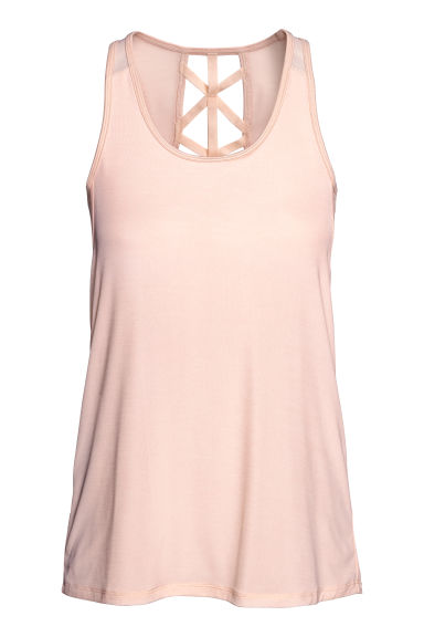 Sports top with sports bra - Powder pink - Ladies | H&M