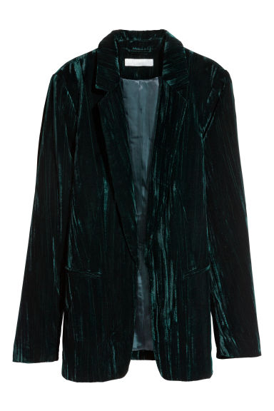 Crushed velvet jacket - Petrol - Ladies | H&M CN