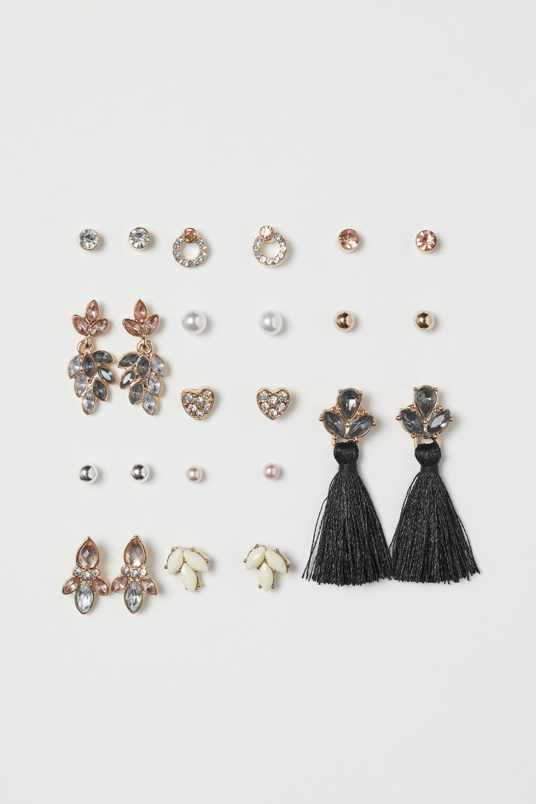 12 pairs stud earrings - Rose gold-coloured - Ladies | H&M