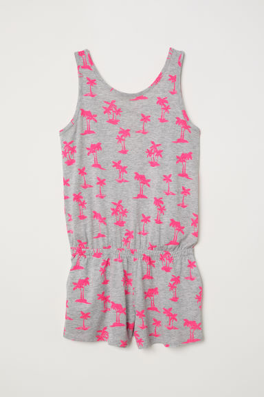 Printed playsuit - Light grey marl/Palm trees - Kids | H&M