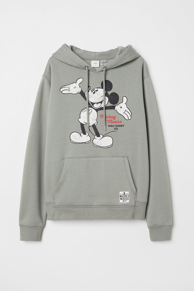 Printed Hooded Sweatshirt - Light khaki green/Mickey Mouse - Ladies | H&M US
