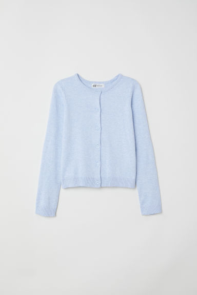 Fine-knit cardigan - Light blue marl - Kids | H&M