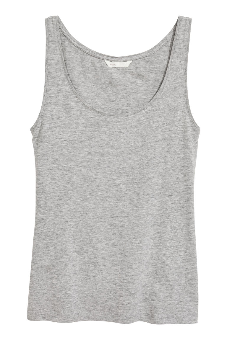 Jersey vest top - Grey marl - Ladies | H&M GB