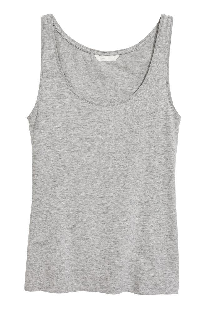 6044922730658 Jersey vest top - Grey marl - Ladies