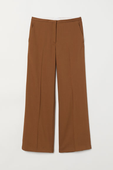 Wide wool trousers - Camel - Ladies | H&M
