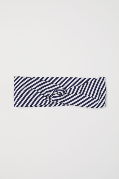 Patterned Hairband - Dark blue/white striped - Ladies | H&M US