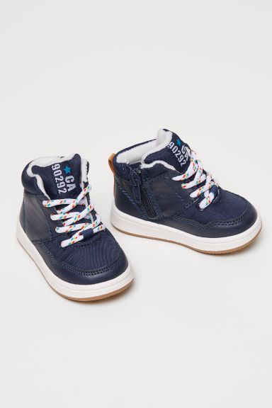 Pile-lined hi-tops - Dark blue -  | H&M