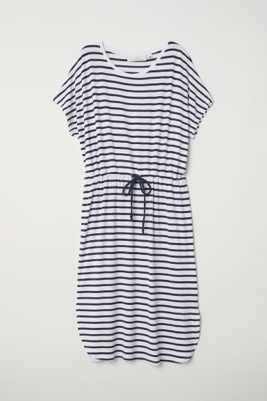 Jersey dress with a drawstring - White/Striped - Ladies | H&M CN