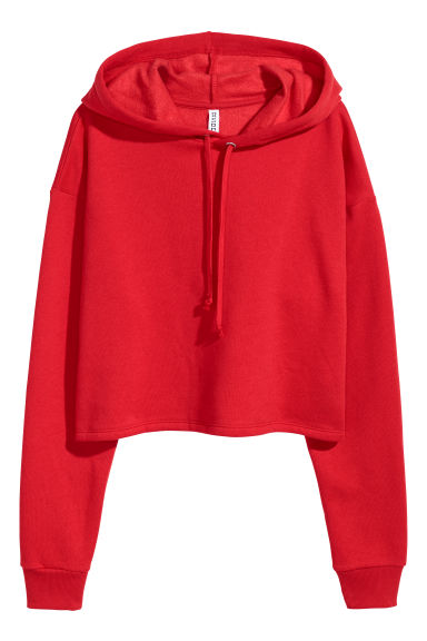 Cropped hooded top - Bright red - Ladies | H&M