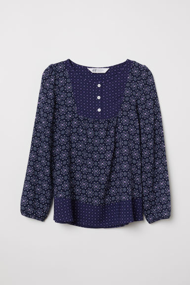 Patterned viscose blouse - Dark blue/Patterned - Kids | H&M CN