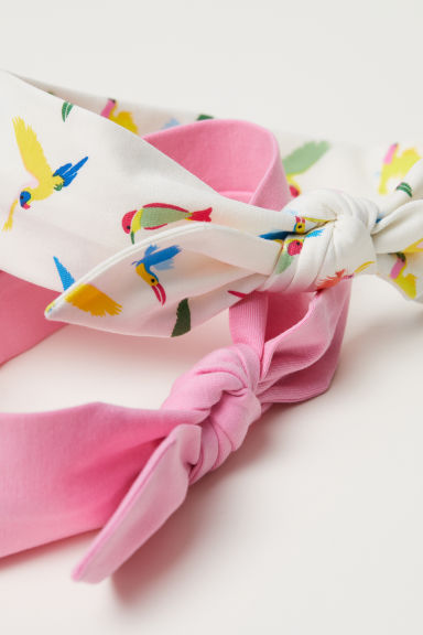 2-pack hairbands with a bow - White/Light pink -  | H&M CN