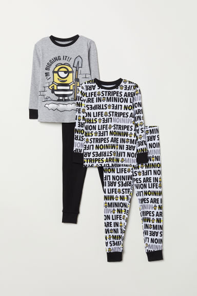 2-pack pyjamas - Light grey marl/Minions - Kids | H&M