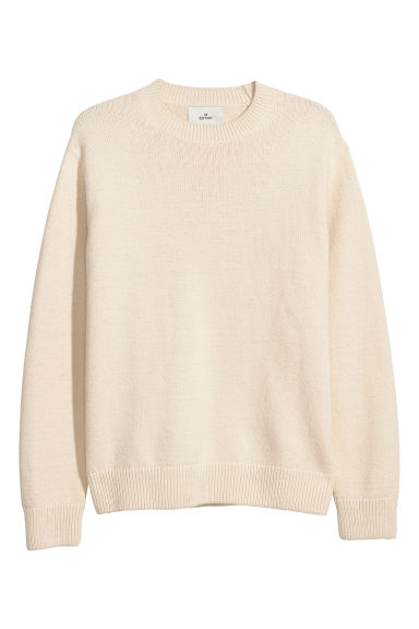 Cotton-blend jumper - Natural white - Men | H&M