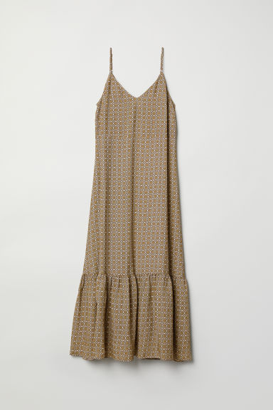 Long V-neck dress - Khaki green/Patterned - Ladies | H&M