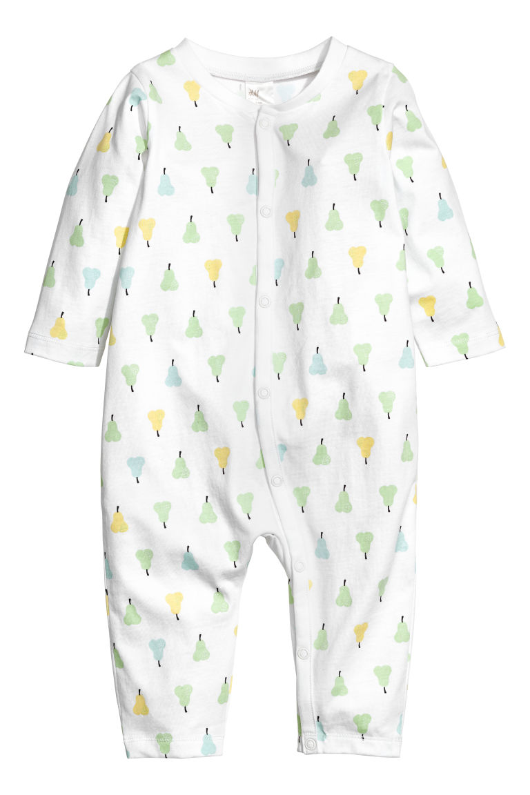 Printed all-in-one pyjamas - White/Fruit - Kids | H&M
