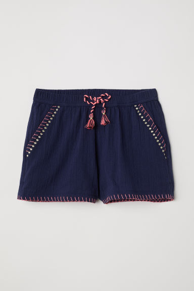Shorts with embroidery - Dark blue - Kids | H&M