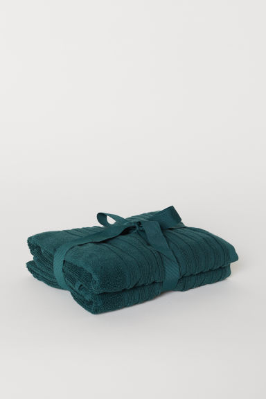 2-pack hand towels - Dark green - Home All | H&M CN