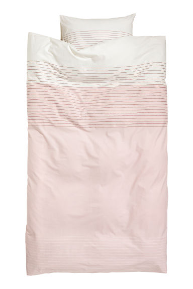 Patterned duvet cover set - White/Pink -  | H&M CN