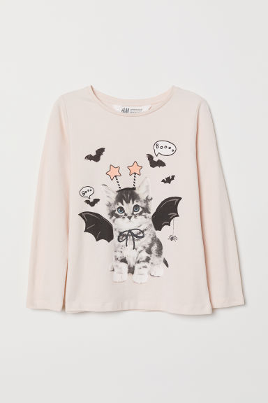Printed jersey top - Light pink/Bat cat - Kids | H&M CN