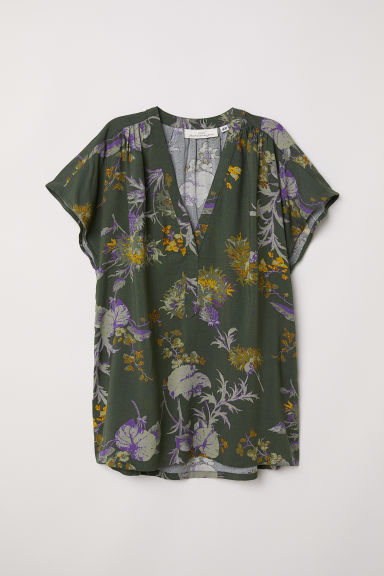 V-neck blouse - Dark green/Patterned -  | H&M CN
