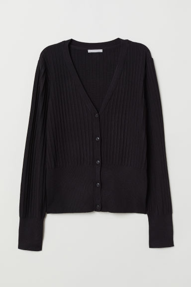 Rib-knit cardigan - Black -  | H&M