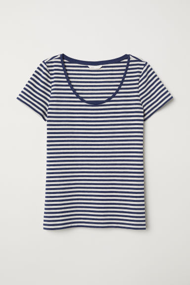 Jersey top - Natural white/Blue striped - Ladies | H&M