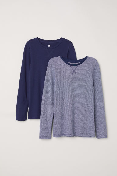 2-pack jersey tops - Dark blue/Narrow striped - Kids | H&M