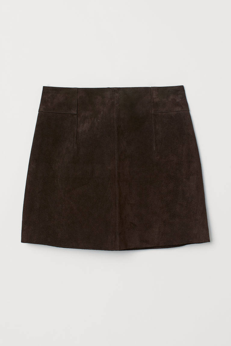 Short suede skirt - Dark brown - Ladies | H&M CN