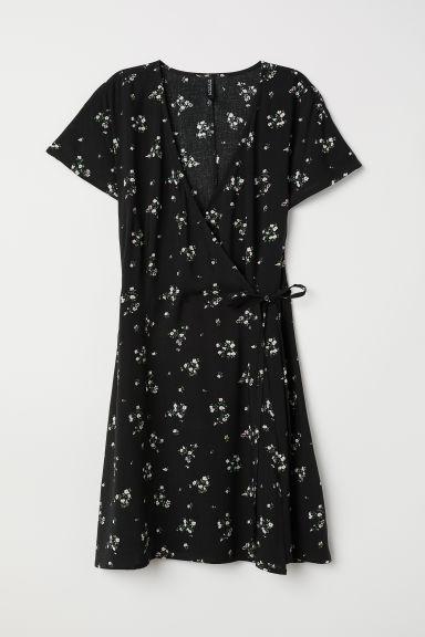 Patterned wrap dress - Black/Floral - Ladies | H&M CN