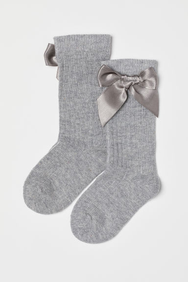 Knee socks with a bow - Grey marl - Kids | H&M CN