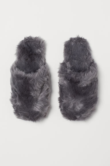 Faux fur slippers - Grey - Ladies | H&M IE