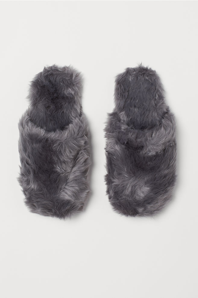 762847862187 Faux Fur Slippers - Gray - Ladies