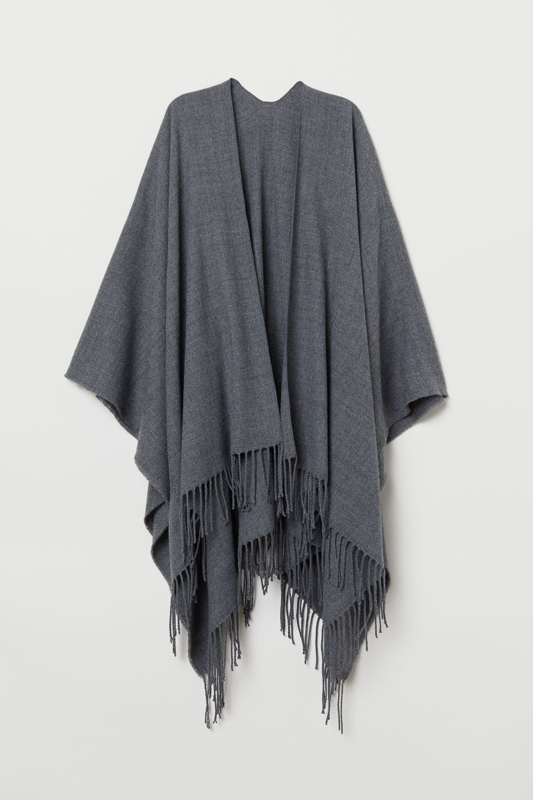 Woven poncho with fringes - Dark grey marl - Ladies | H&M CN