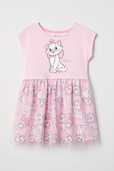 Dress with a tulle skirt - Light pink/Aristocats - Kids | H&M