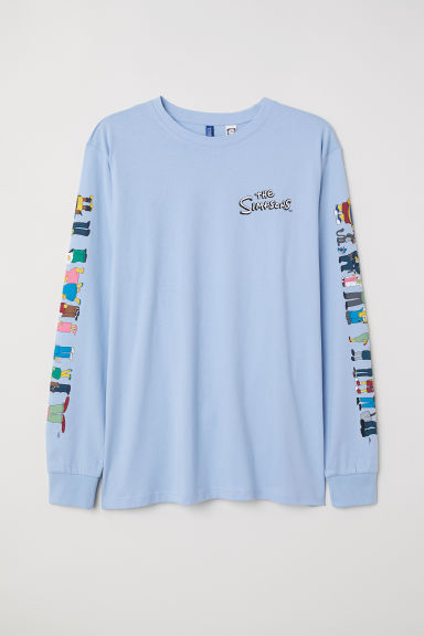 Long-sleeved Jersey Shirt - Light blue/Simpsons - Men | H&M US