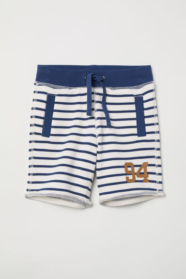 Sweatshirt shorts - White/Blue striped - Kids | H&M CN