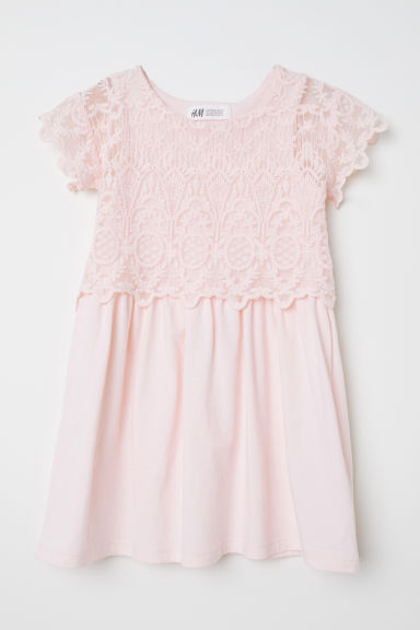 Jersey dress with lace - Light pink -  | H&M