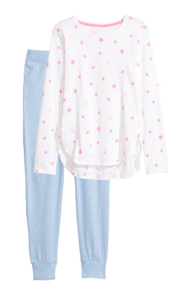 Jersey pyjamas - Light blue/Stars - Kids | H&M