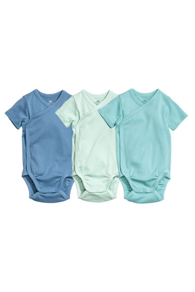 3-pack wrapover bodysuits - Turquoise/Blue - Kids | H&M
