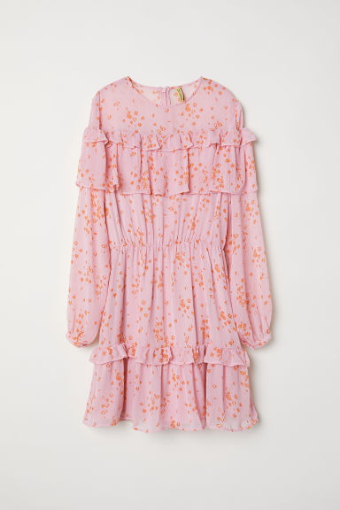 Chiffon dress with flounces - Pink/Patterned -  | H&M CN