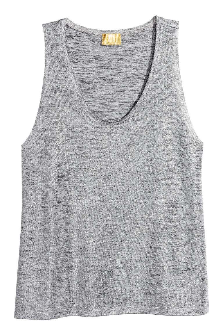 Shimmering top - Silver-coloured - Ladies | H&M