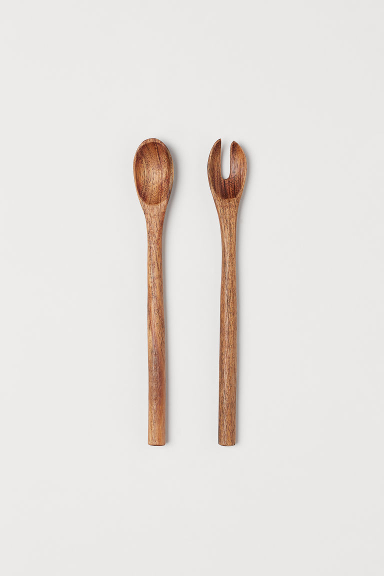 Couverts de service en bois - Marron/bois d'acacia - Home All | H&M FR